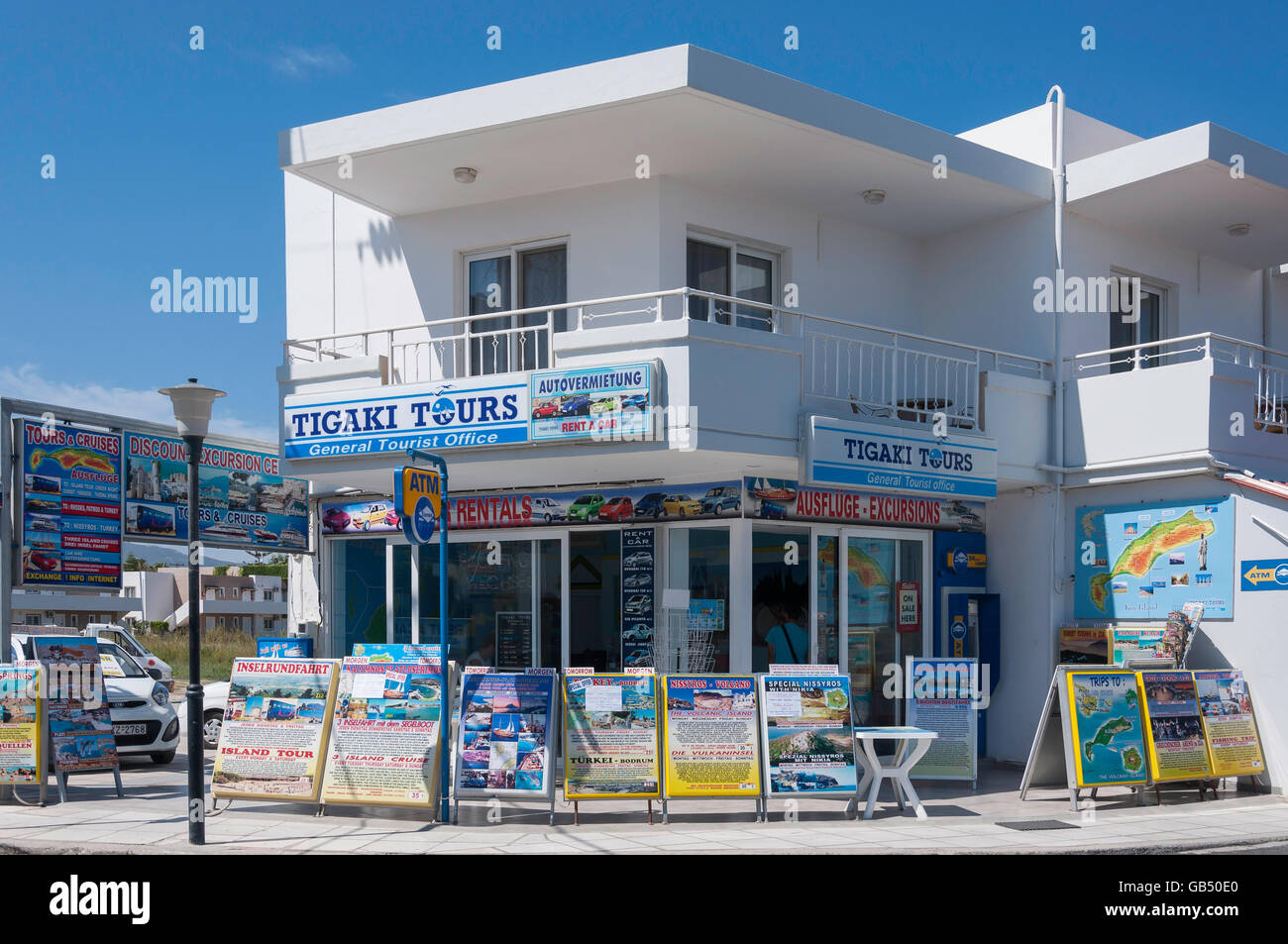 Tigaki Tours travel agent, Tigaki, Kos (Cos), del Dodecaneso, Egeo Meridionale Regione, Grecia Immagini Stock