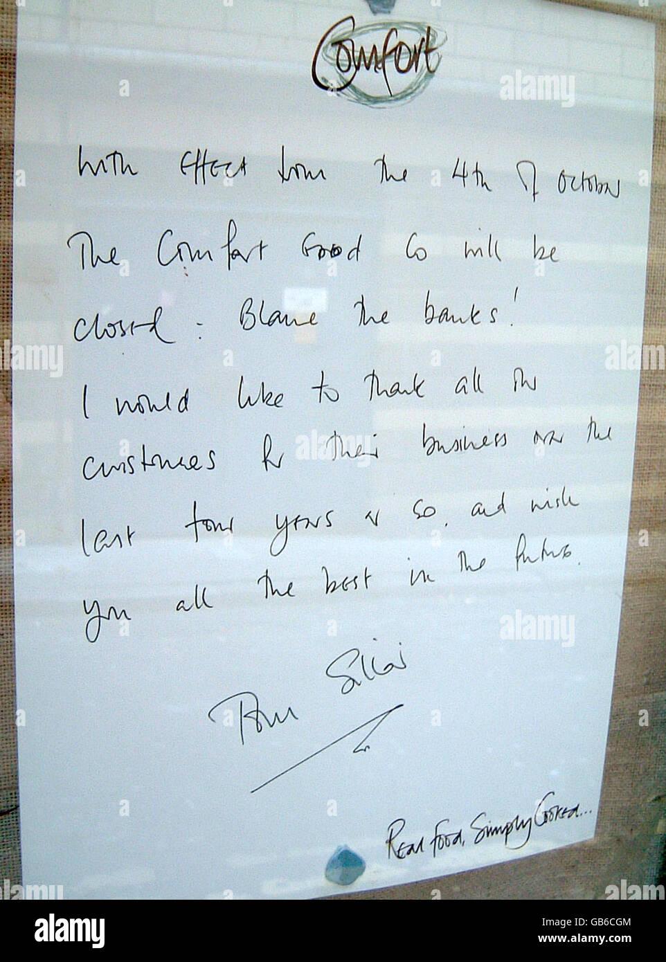 Il ristorante è costretto a chiudere in mezzo alle crisi economica Immagini Stock