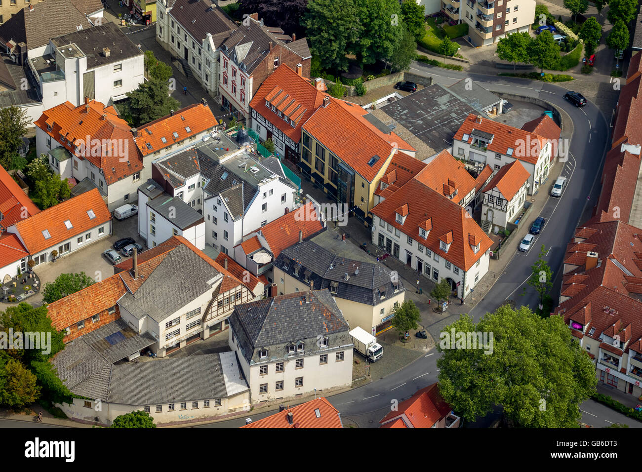 Vista aerea, ex royal coaching prussiano Haus Fredrich-Neuschäfer, Kamper Street Steinengraben, Werl, Werl Immagini Stock