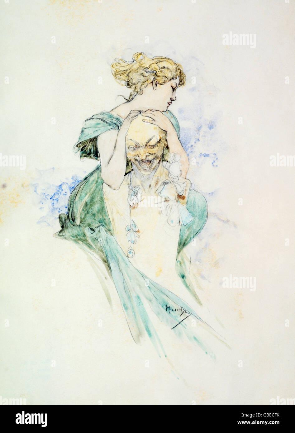 La donna e il busto di Alfons Mucha, XIX / XX secolo Immagini Stock