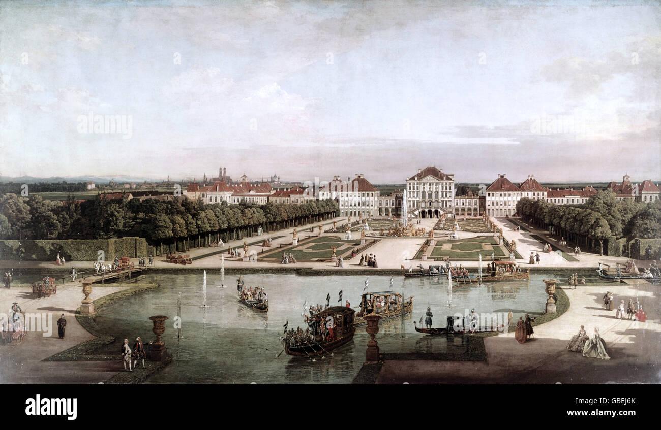 Belle arti, Bellotto, Bernardo, chiamato Canaletto (1721 - 1780), pittura, 'Il Palazzo di Nymphenburg dal lato parco', Foto Stock