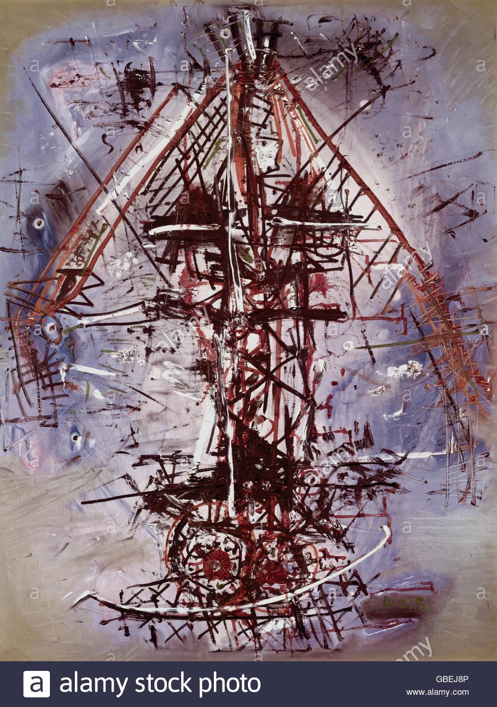 """Belle arti, Wols (Alfred Otto Wolfgang Schulze), 1913 - 1951, pittura, """"Le Bateau Ivre"""" (Il battello ebbro), Immagini Stock"""