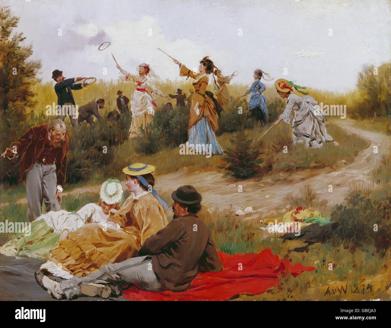 Belle arti, Werner, Anton von (1843 - 1915), la pittura, la riproduzione, la cattura di anelli, 1874, la Kunsthalle Immagini Stock
