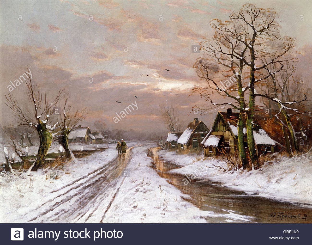 """Belle arti, Rheinert, Adolf (1880 - 1958), verniciatura, 'Paesaggio invernale"""", Wimmer Gallery, Monaco Immagini Stock"""