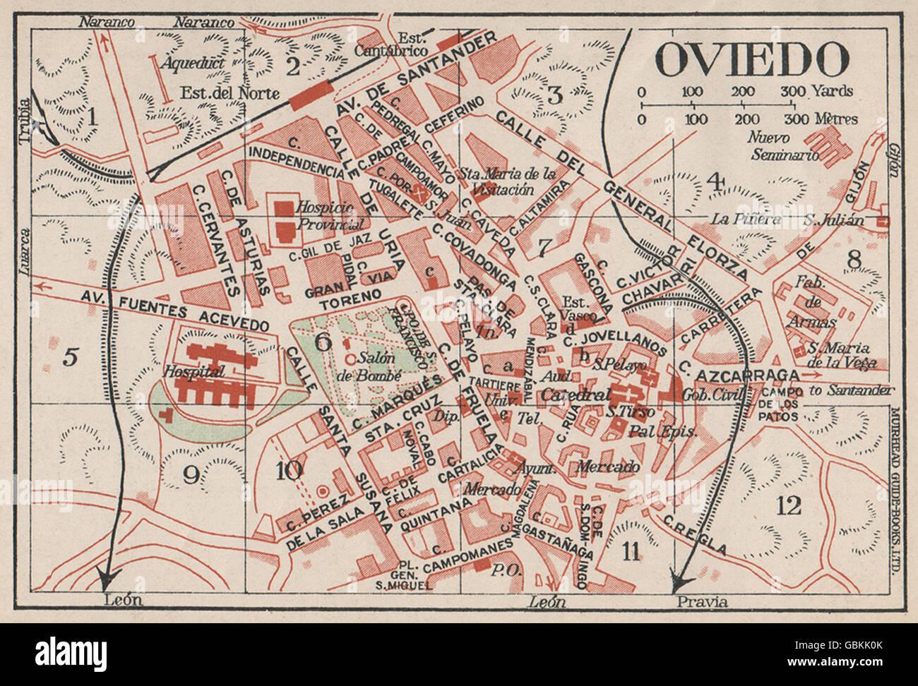 Mappa Spagna Oviedo.Oviedo Vintage Town Mappa Della Citta Piano Spagna 1930 Foto Stock Alamy