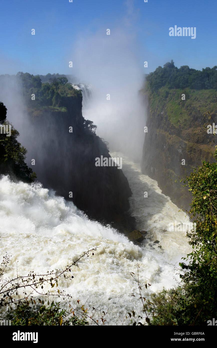 Il fiume Zambesi, Victoria falls, Zambia e Zimbabwe Immagini Stock