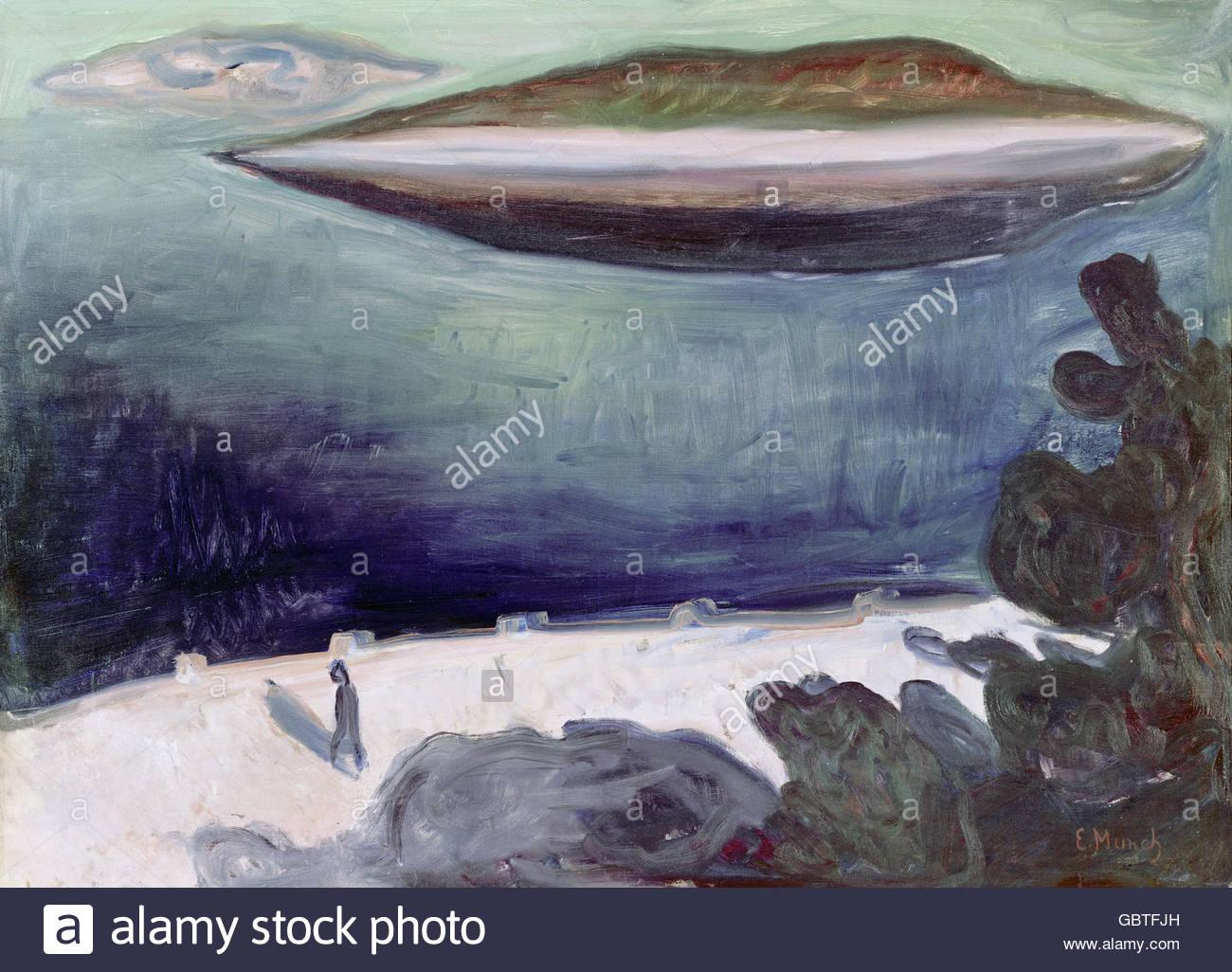 Belle arti, Munch, Edvard (1863 - 1944), pittura, notte estiva a Oslofjord, la Kunsthalle di Mannheim, artista del Immagini Stock