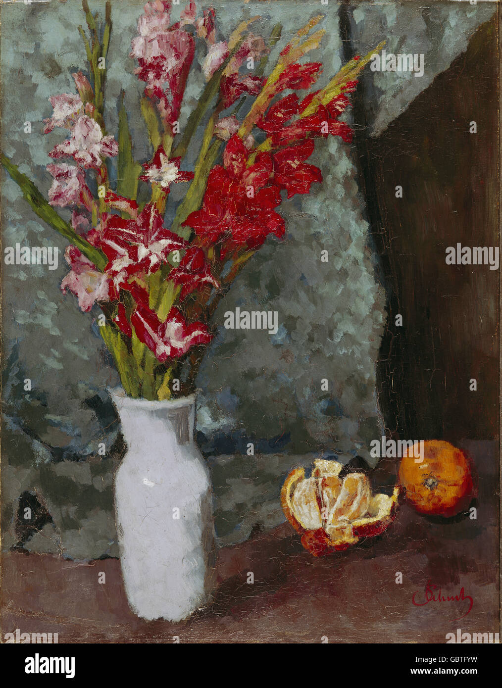 Belle arti, Schuch, Karl (1846 - 1903), pittura, 'Gladioli e arance' ('Gladiolen und Apfelsinen'), Immagini Stock