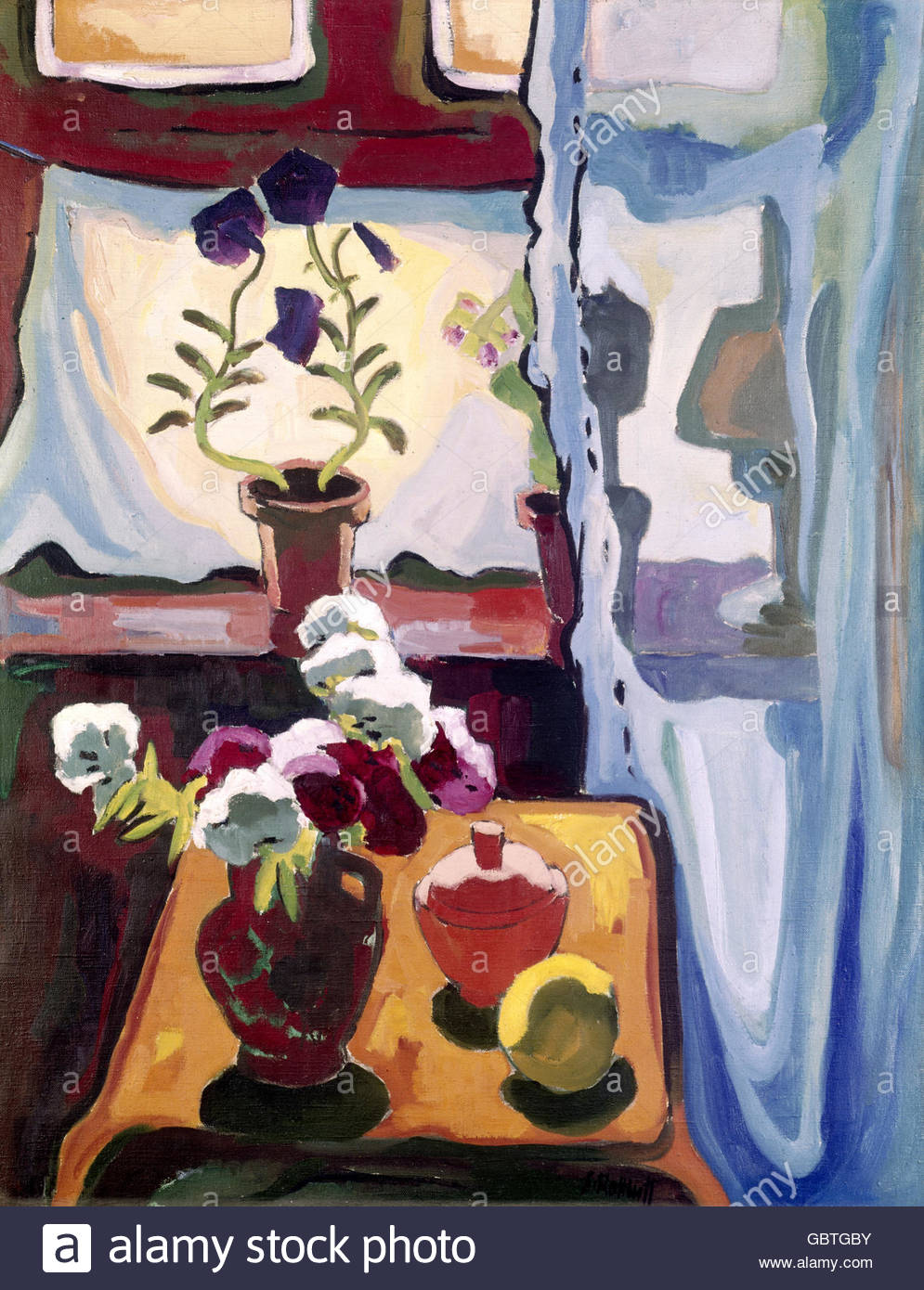 Belle arti, Schmidt-Rottluff, Karl (1884 - 1976), pittura, 'Summerly finestra' ('Sommerliches Fenster'), Immagini Stock