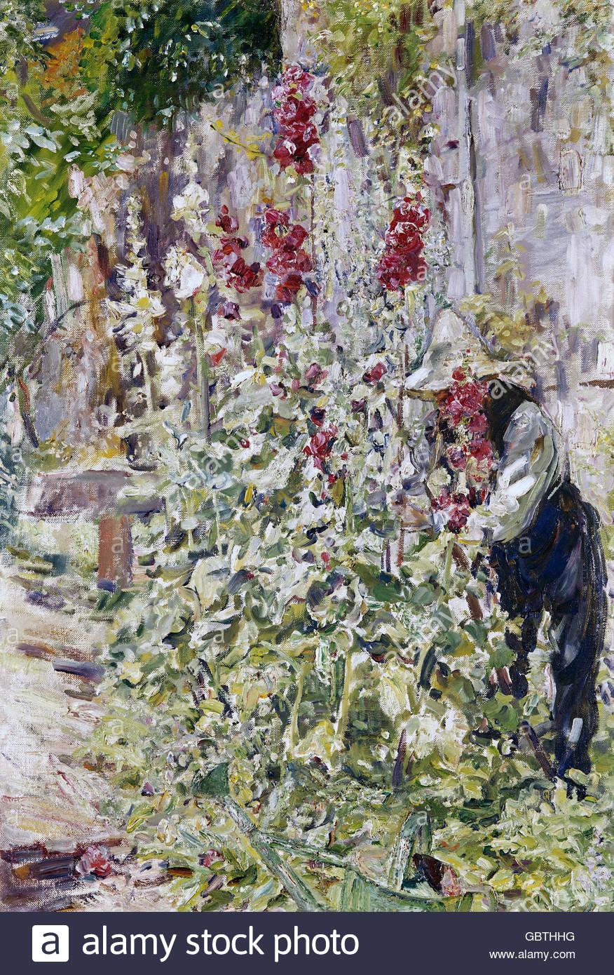 Belle arti, Slevogt, Max (8.10.1868 - 20.9.1932), la pittura 'Der Malvengaertner' (il giardiniere Hollyhock), Immagini Stock