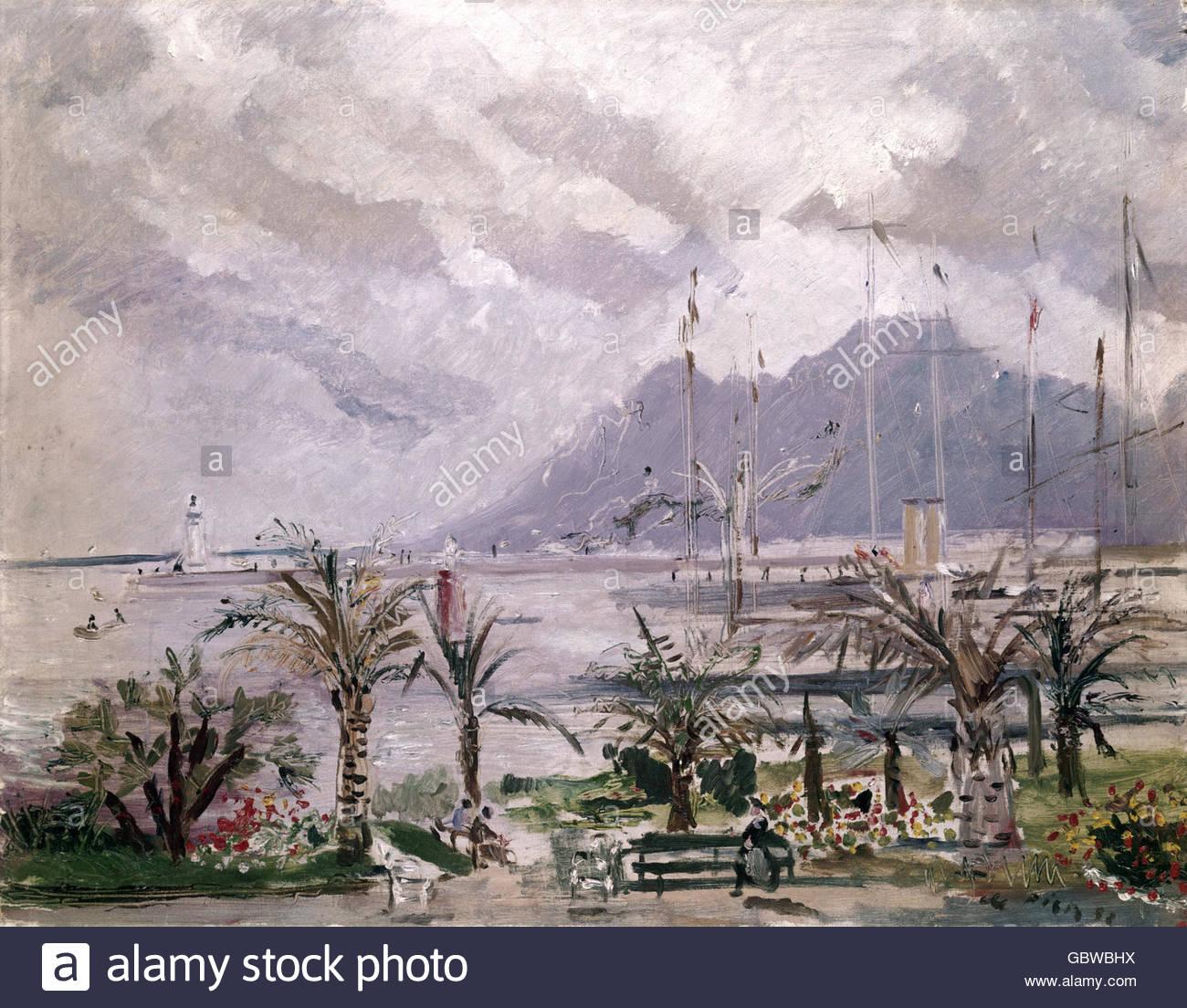 """Belle arti, Pisis, Filippo de (1896 - 1956), pittura, """"Cannes Harbour"""", collezione privata, Milano, artista Immagini Stock"""