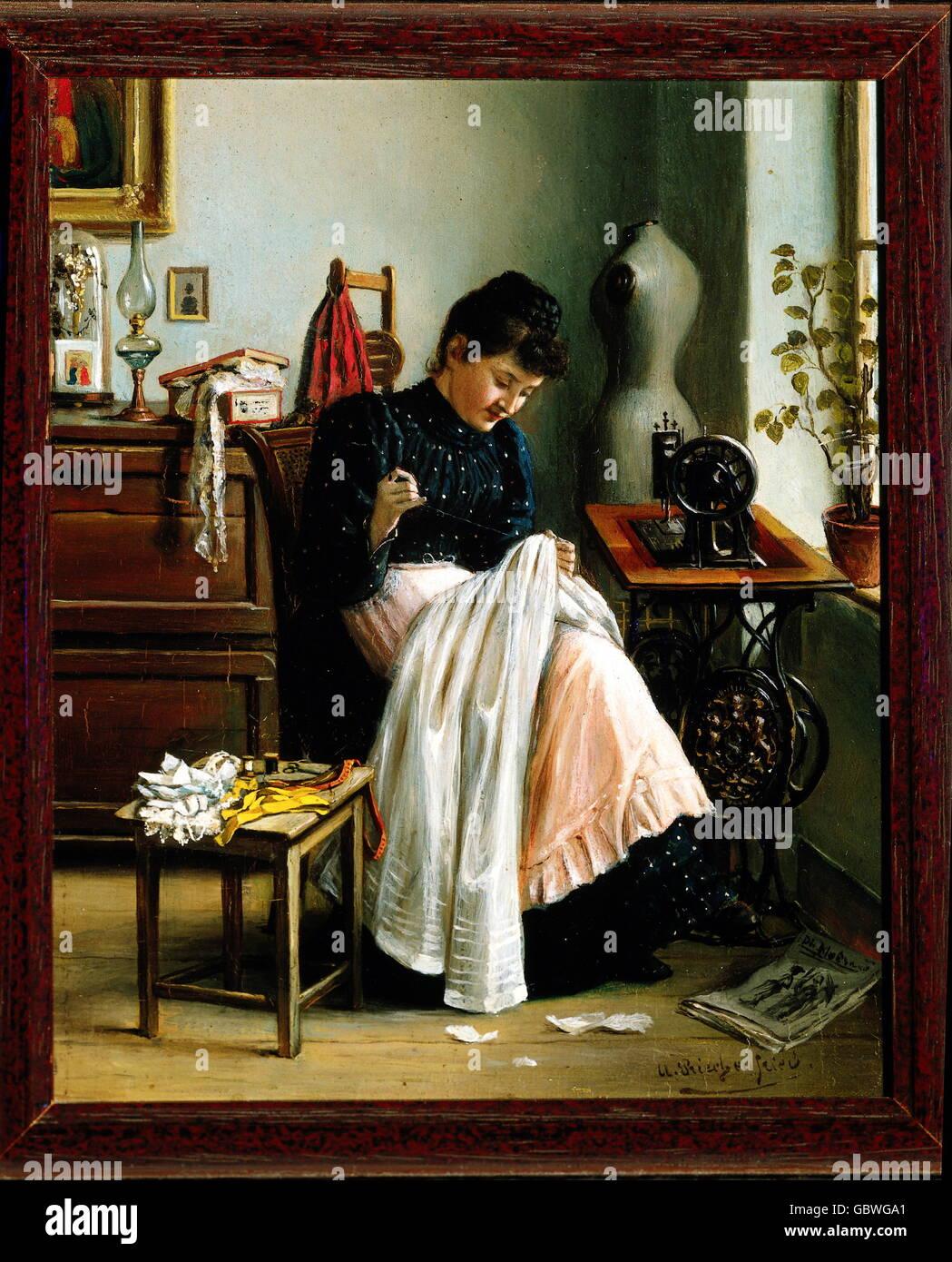 Persone, professioni sarta alla macchina da cucire, pittura, olio su pannello, nel 1860 circa, Additional-Rights Immagini Stock