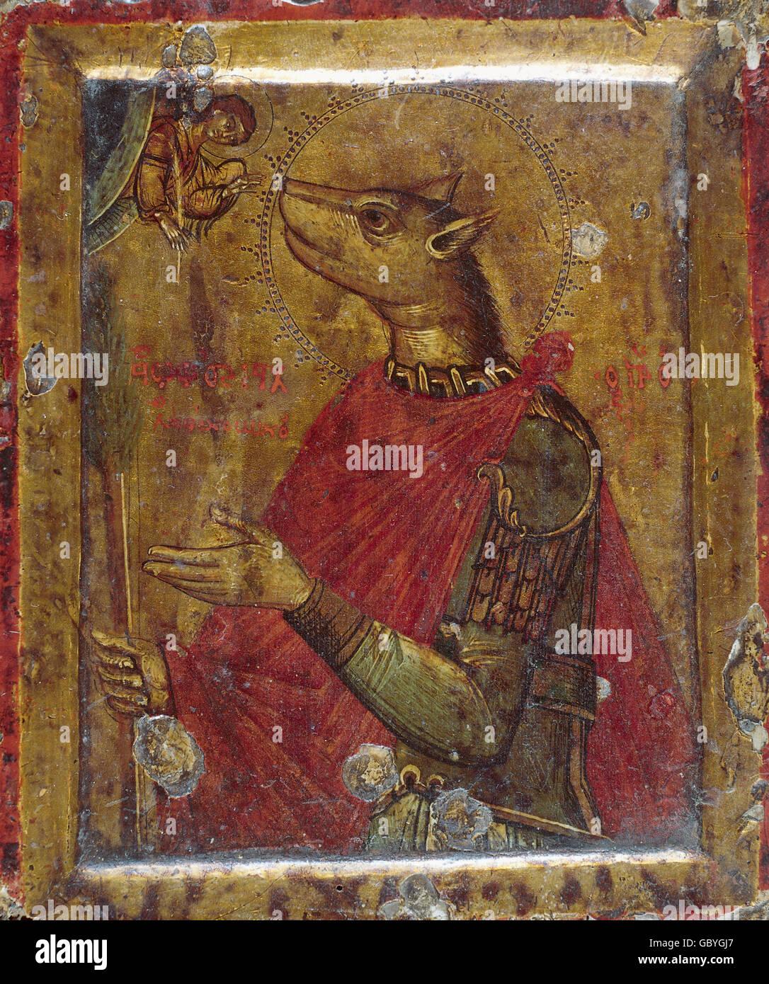 Belle arti, l'arte religiosa, persona, Saint Christopher come Cynocephaly, icona, Greco, Museo Benaki, Atene, Immagini Stock