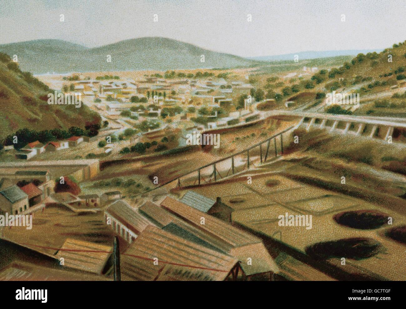 La storia del Messico. Hidalgo State. Pachuca. La litografia, 1880. Immagini Stock