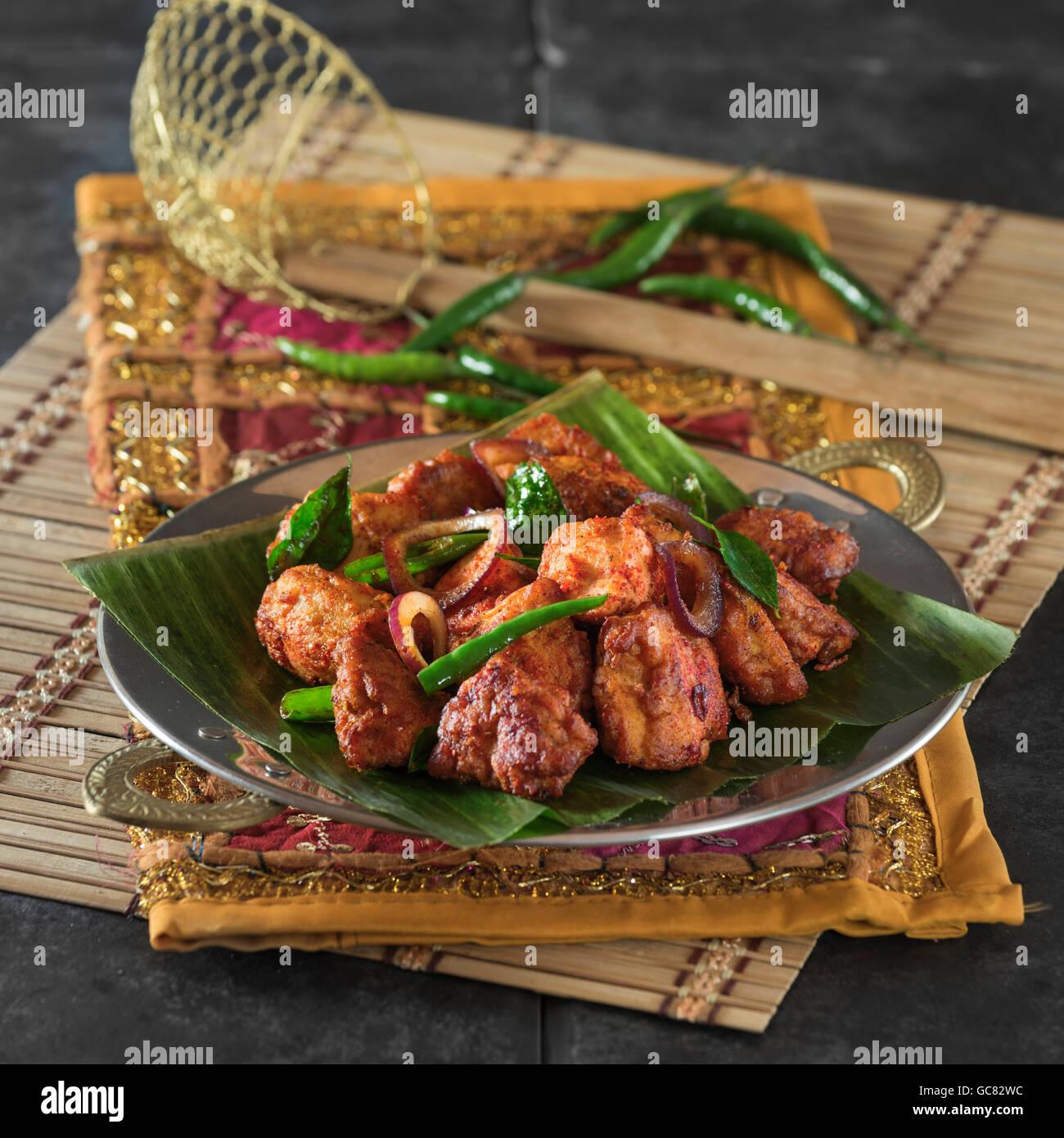 Pollo 65. Piccante pollo fritto India cibo Immagini Stock