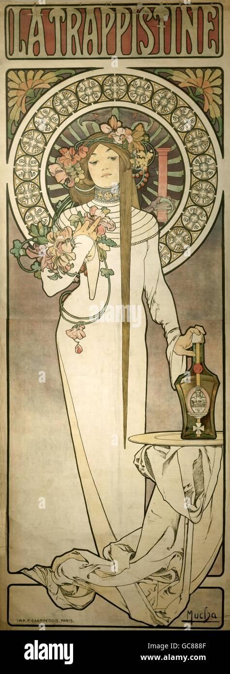 """Belle arti, Mucha, Alfons Maria, (24.8.1860 - 14.7.1939), poster per la liqueur de 'La Trappistine"""" ca. 1895, litografia, 205 x 76 cm, Die Neue Sammlung di Monaco di Baviera, Foto Stock"""