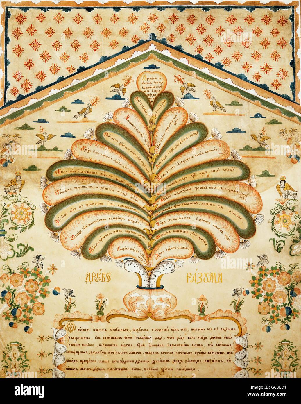 La religione, scene bibliche, albero della conoscenza del bene e del male, inchiostro e tempera, Russia, 1816, Additional Immagini Stock