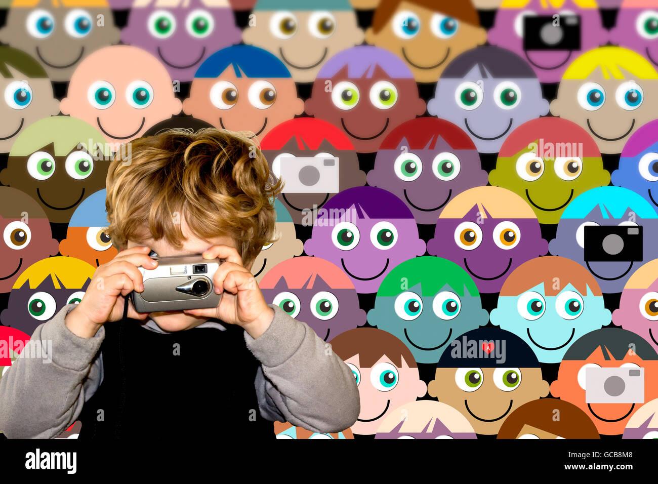 Composite illustrazione della foto di un bambino di tre anni