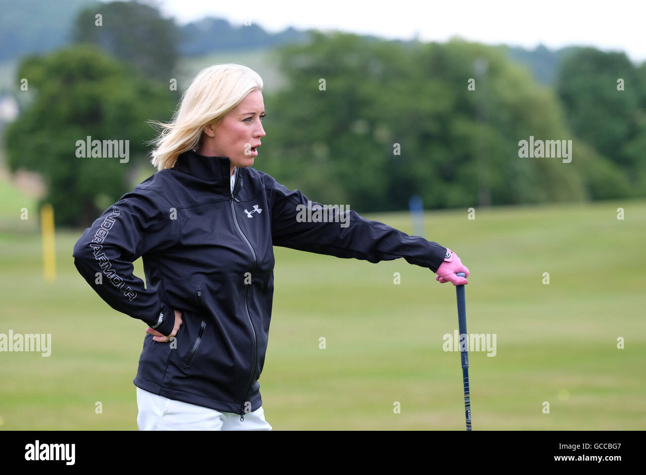 Celtic Manor di Newport, Galles - Sabato 9 Luglio 2016 - la celebrità Cup Competizione golf Denise van Outen Immagini Stock