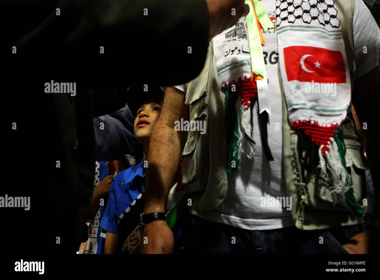 Raid su Gaza flottiglia di aiuti postumi Foto Stock