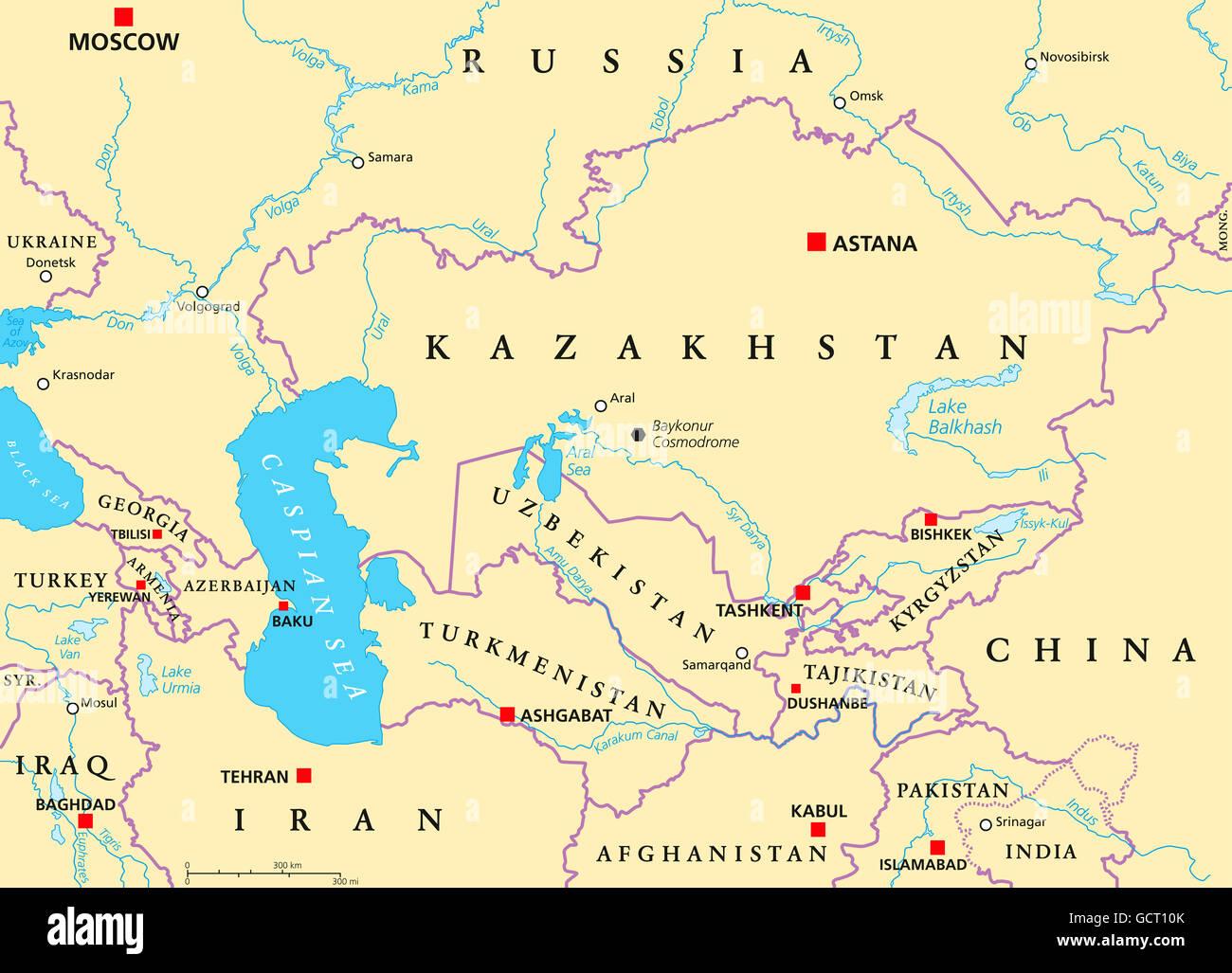 Asia Centrale Cartina Geografica.Caucaso E Asia Centrale Mappa Politico Con I Paesi E I Loro Capitelli E Le Frontiere Nazionali Importanti Citta Fiumi E Laghi Foto Stock Alamy