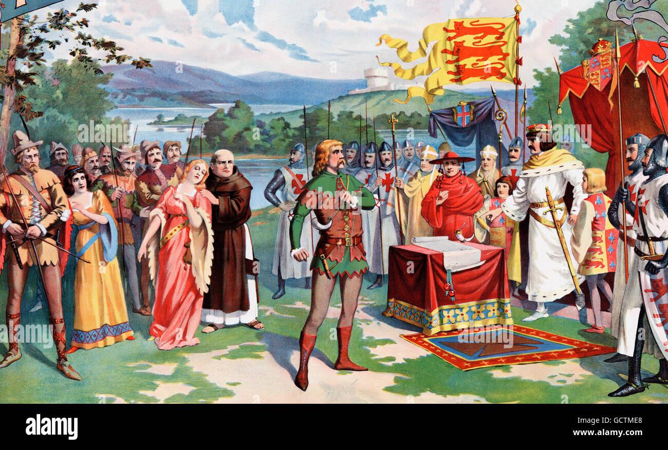 Robin Hood sfidano il Re Giovanni. Un 1895 Illustrazione di William Greer Harrison per un manifesto teatrale promuovere Immagini Stock