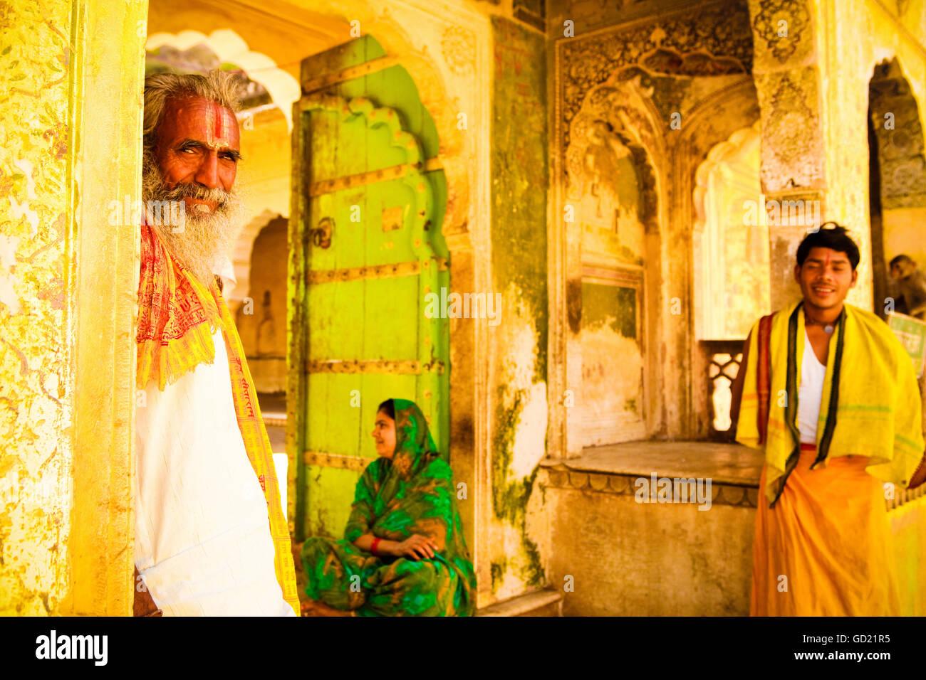 Scuola di sanscrito professore, Jaipur, Rajasthan, India, Asia Immagini Stock
