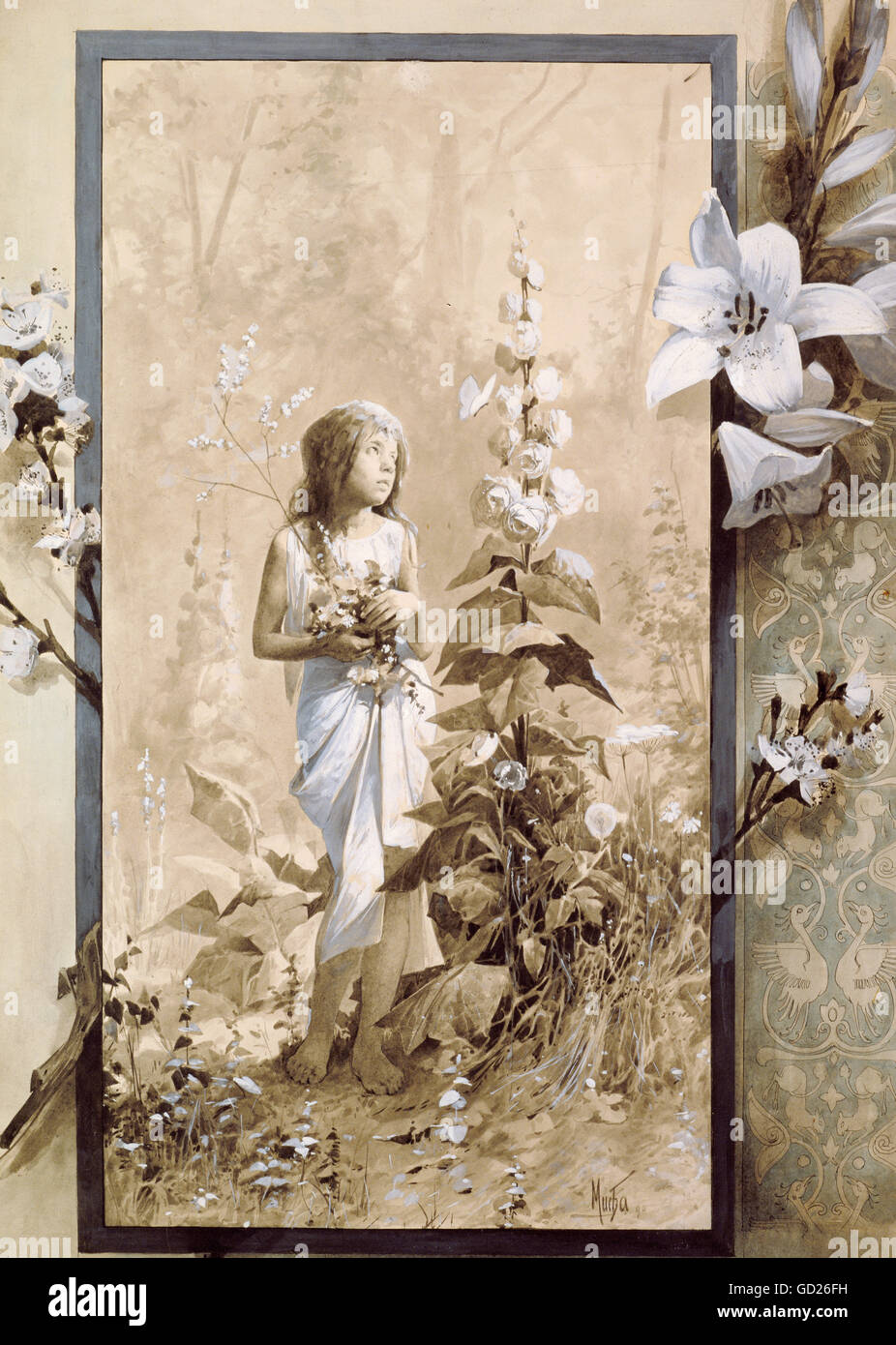 Belle arti, Mucha, Alphonse (1860 - 1939), la pittura, la giovane ragazza , artista del diritto d'autore non Immagini Stock