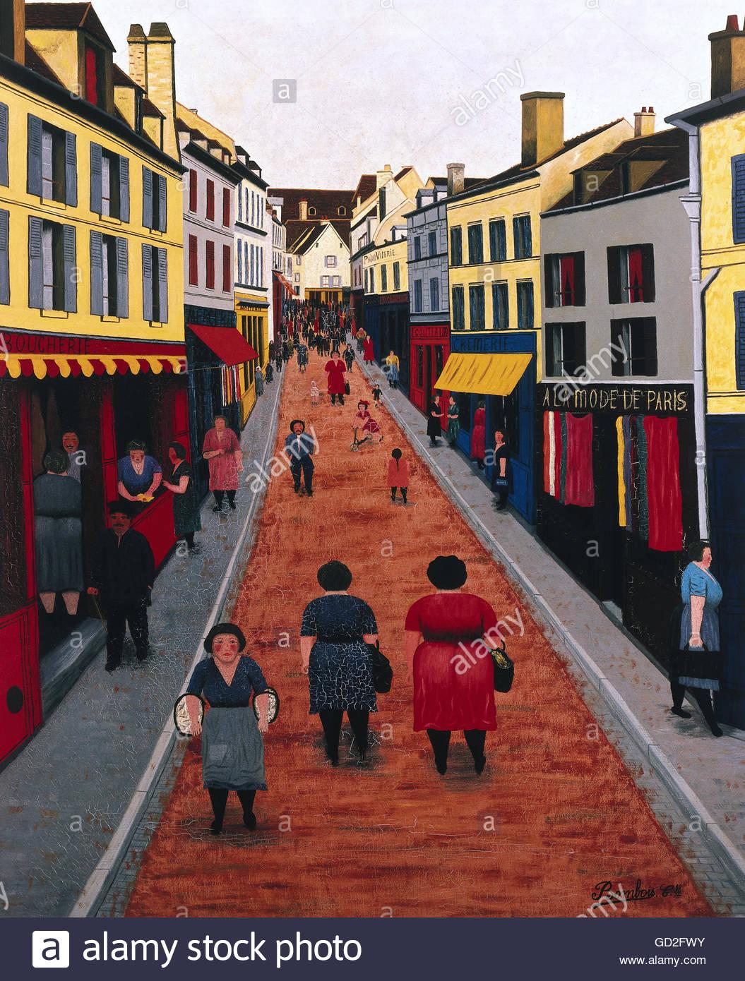Belle arti, Bombois, Camille (3.1.1883 - 11.6.1970), pittura, 'Rue St Pierre a Tonnerre', olio su tela, Immagini Stock