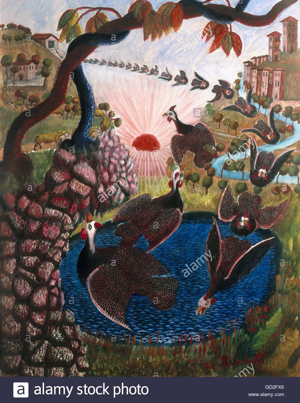 """Belle arti, Galeotti, Francesco (* 25.5.1920), pittura, 'RETURN del guineafowls"""", 1967, olio su tela, 50 Immagini Stock"""
