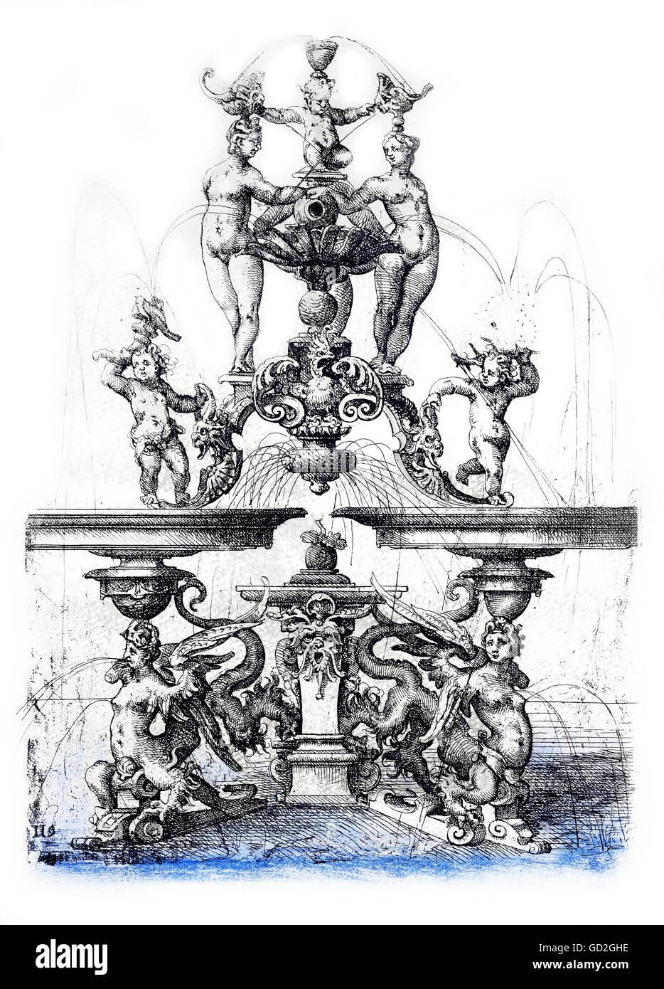 Belle arti, Dietterlin Wendel (1550 / 1551 - 1599), attacco chimico, un concetto per un fontana, da: 'Architectura', Immagini Stock