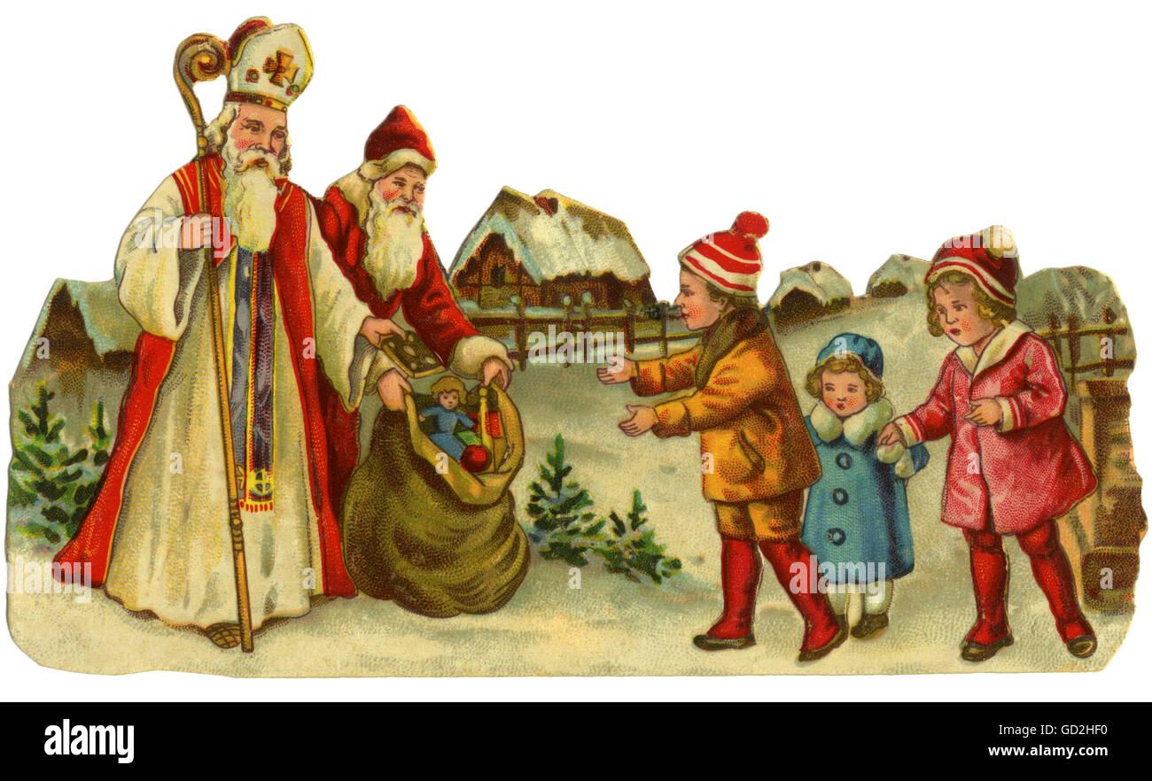 Babbo Natale E San Nicola.Natale San Nicola E Babbo Natale Che Porta Regali Per I