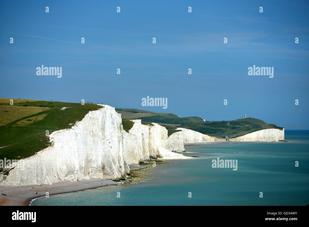L'iconico vista della costa inglese, Sette sorelle chalk cliffs, East Sussex Immagini Stock