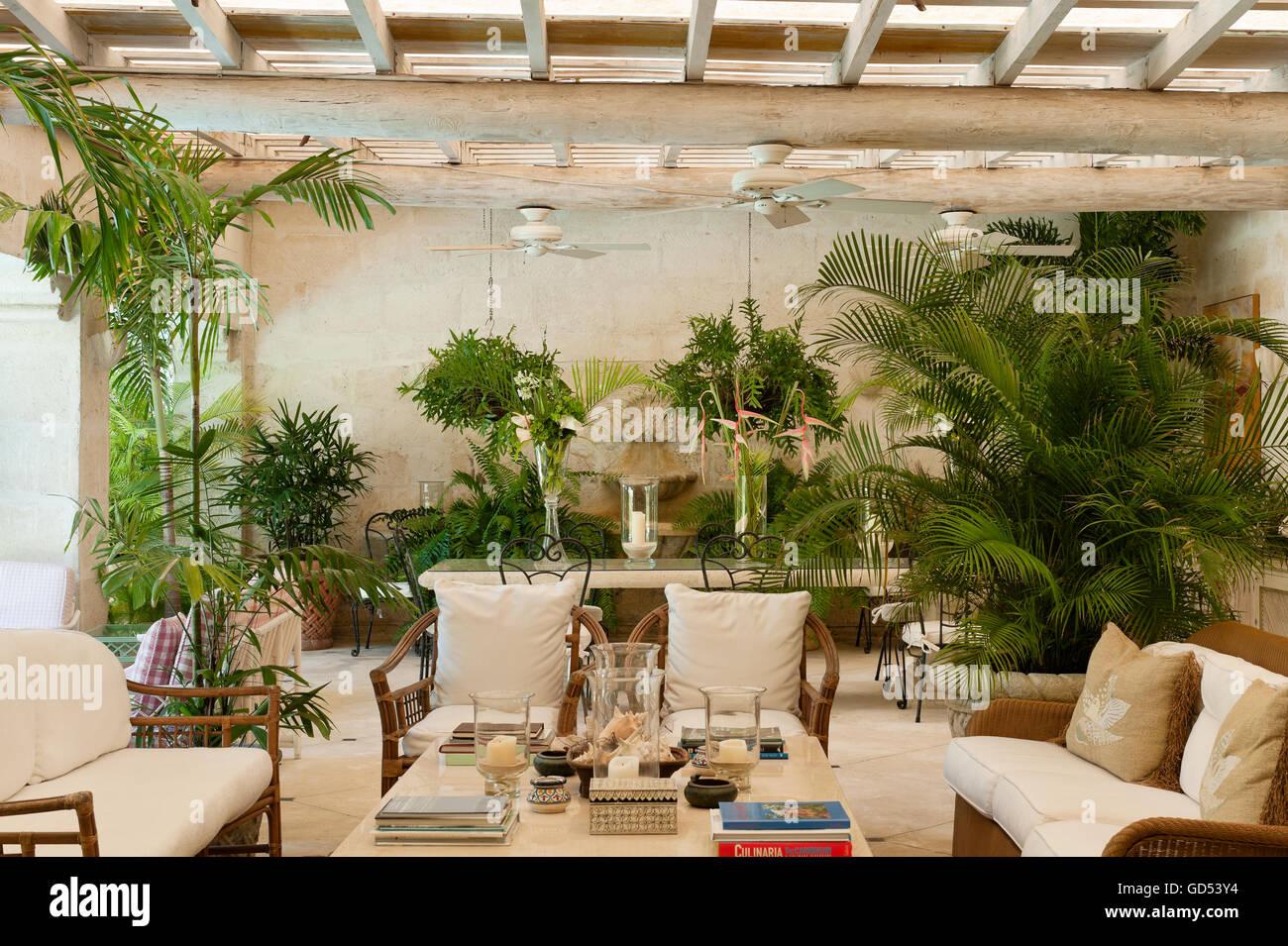 Grandi felci e mobili in bambù nella veranda di Leamington House villa coloniale, Barbados Immagini Stock