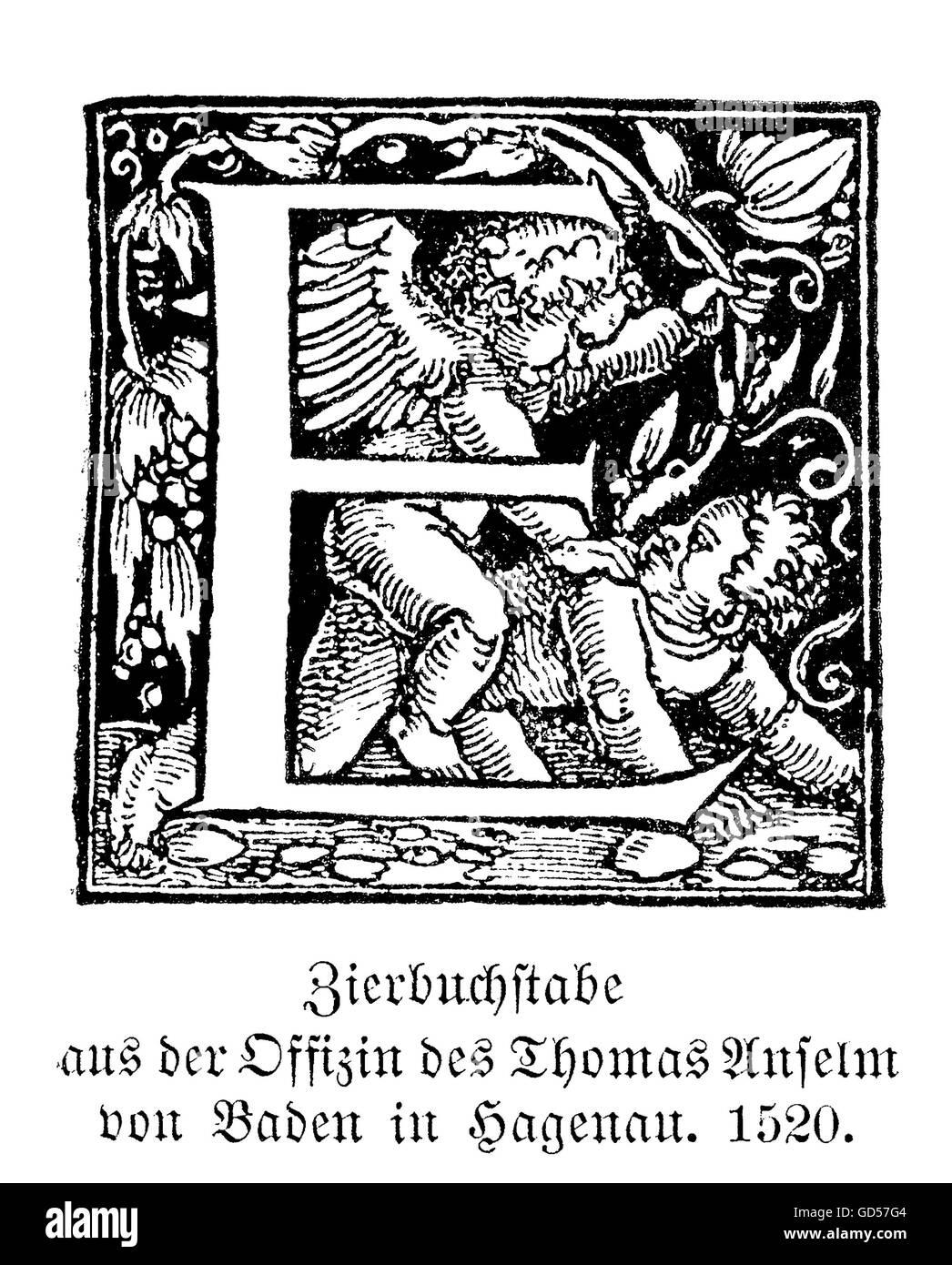 """Lettera oscillante E. 'Slavare"""" erano chiamati i grandi decorate le iniziali maiuscole usate in buona tipografia Immagini Stock"""