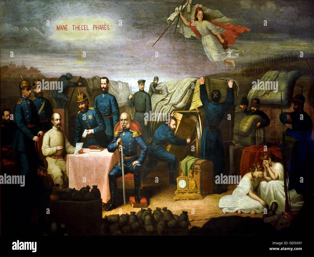 Il Trattato di Francoforte am Main 1871 il tedesco in Germania Immagini Stock