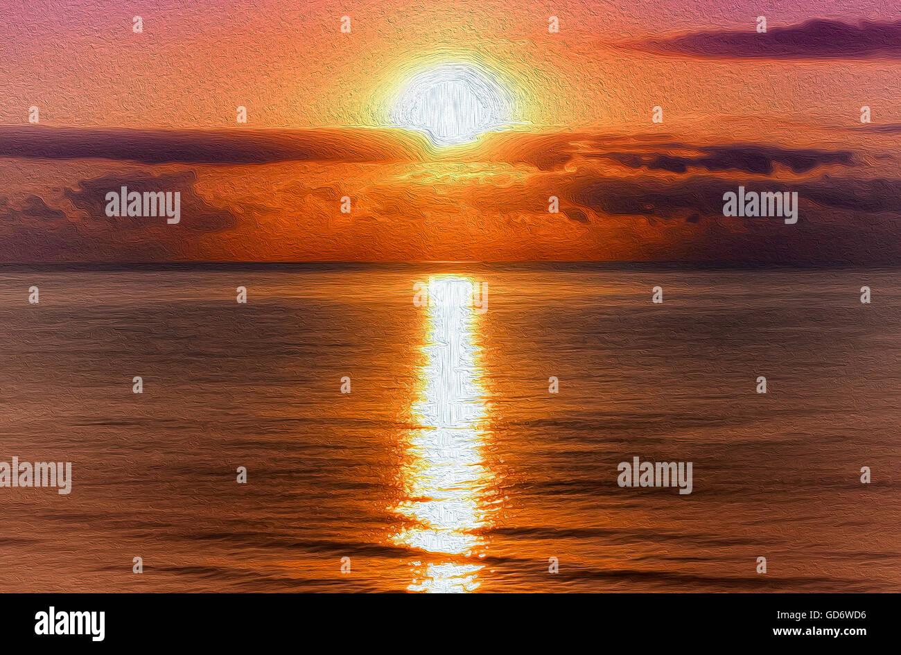 Pittura di olio. Mare Mediterraneo paesaggio. Incredibile sunrise da Benicasim, Spagna, d'estate fine stagione. Immagini Stock