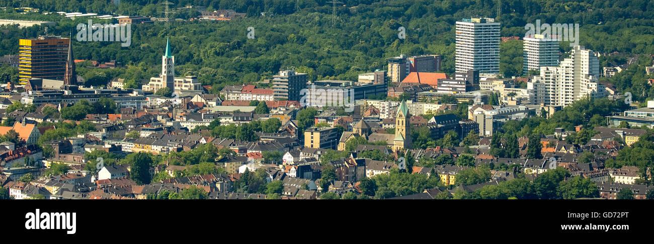 Vista aerea, teleobiettivo con una vista del centro della città di Gelsenkirchen Maritim Hotel, vista dal centro Immagini Stock
