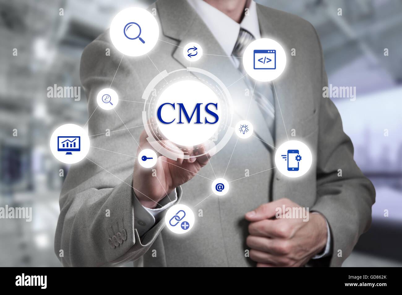 Il concetto di cms sistema di gestione dei contenuti Gestione sito internet Immagini Stock