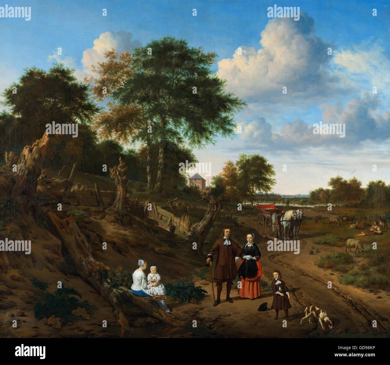 Adriaen van de Velde - Portret van een echtpaar met twee kinderen en een min in een landschap Immagini Stock