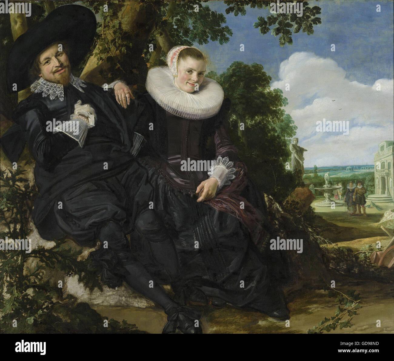 Frans Hals - Portret van een stel in een landschap Immagini Stock