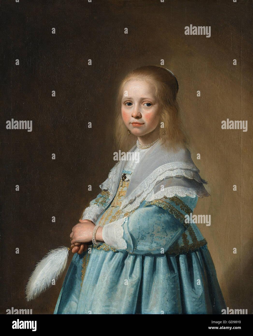 Johannes Cornelisz. Verspronck - Portret van een meisje in het blauw Immagini Stock