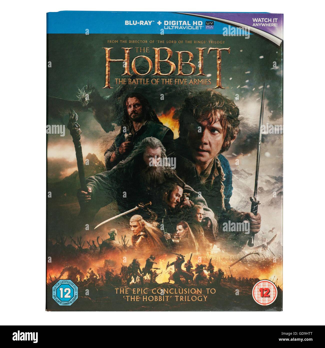 The Hobbit Blu-Ray DVD film la Battaglia dei cinque eserciti su sfondo bianco Immagini Stock