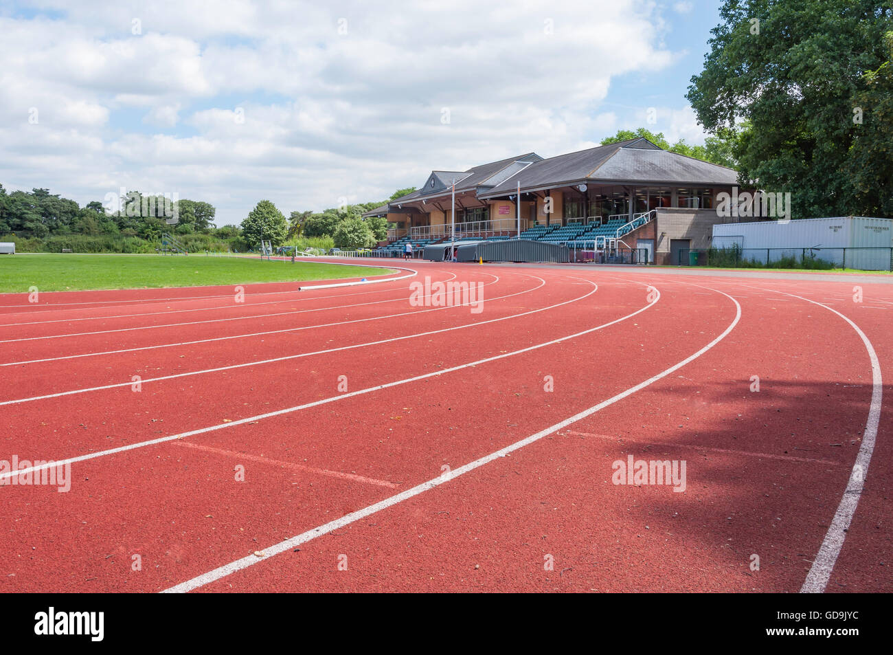Via di corsa a Thames Valley centro atletico, Pococks Lane, Eton, Berkshire, Inghilterra, Regno Unito Immagini Stock