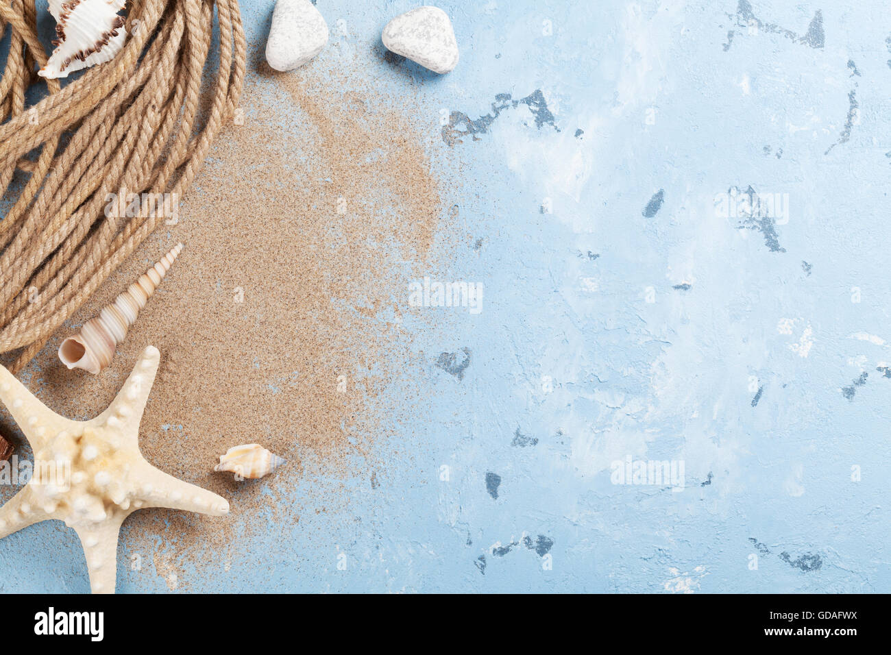 Spiaggia Di Viaggio Vacanza Sfondo Conchiglie Di Mare E Stelle
