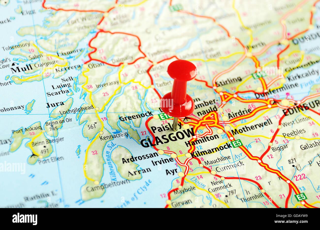 Cartina Stradale Della Scozia.Glasgow Scozia Regno Unito Mappa E Pin Concetto Di Viaggio Foto Stock Alamy