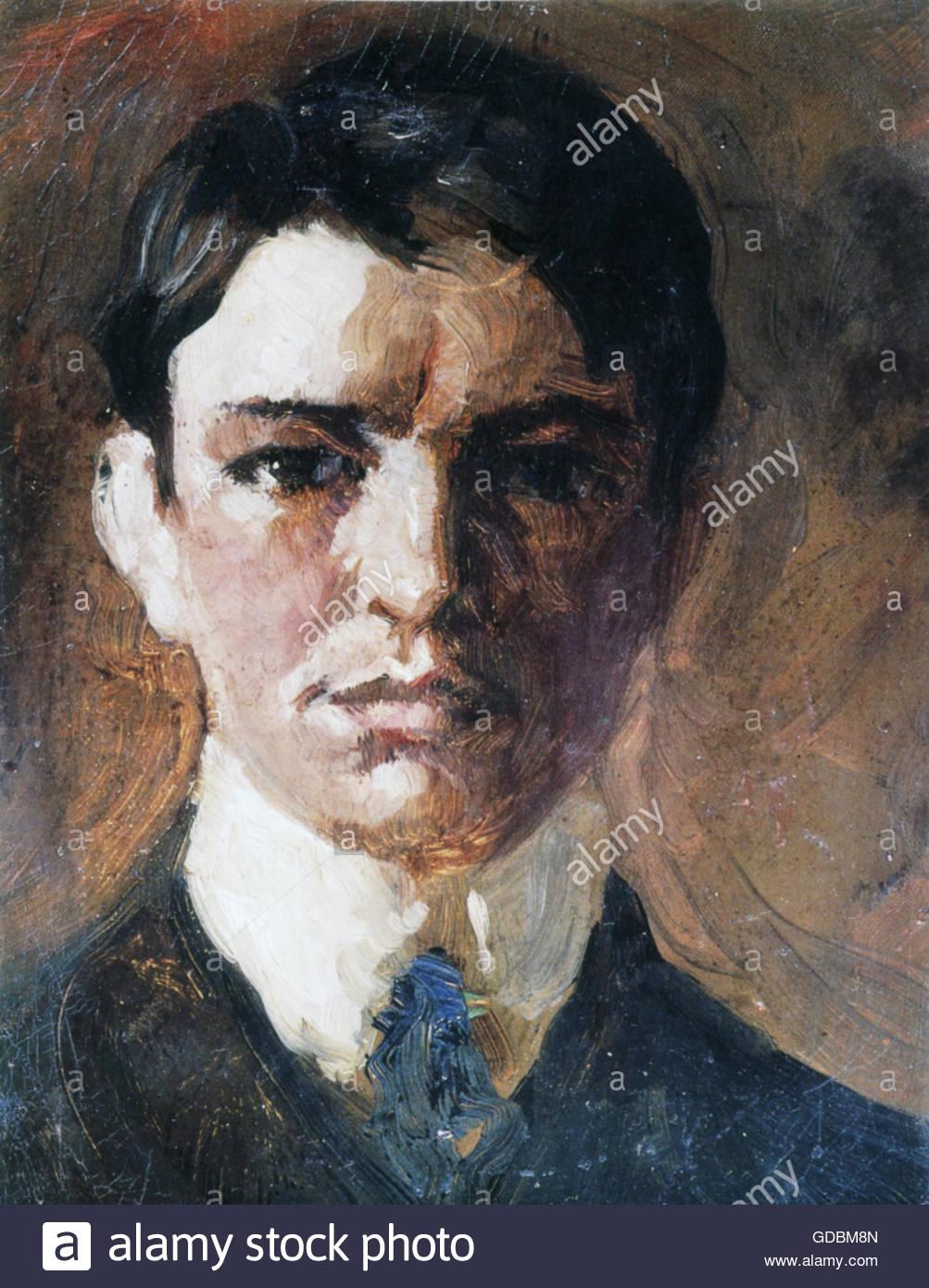 Macke, Agosto, 3.1.1887 - 26.9.1914, pittore tedesco, ritratto, autoritratto, pittura, olio su tela, 1907, collezione Immagini Stock