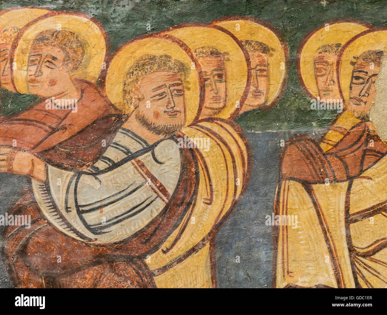 Jaca, provincia di Huesca, Aragona, Spagna. Museo Diocesano di Jaca (Museo Diocesano de Jaca). Dettaglio di un gruppo Immagini Stock