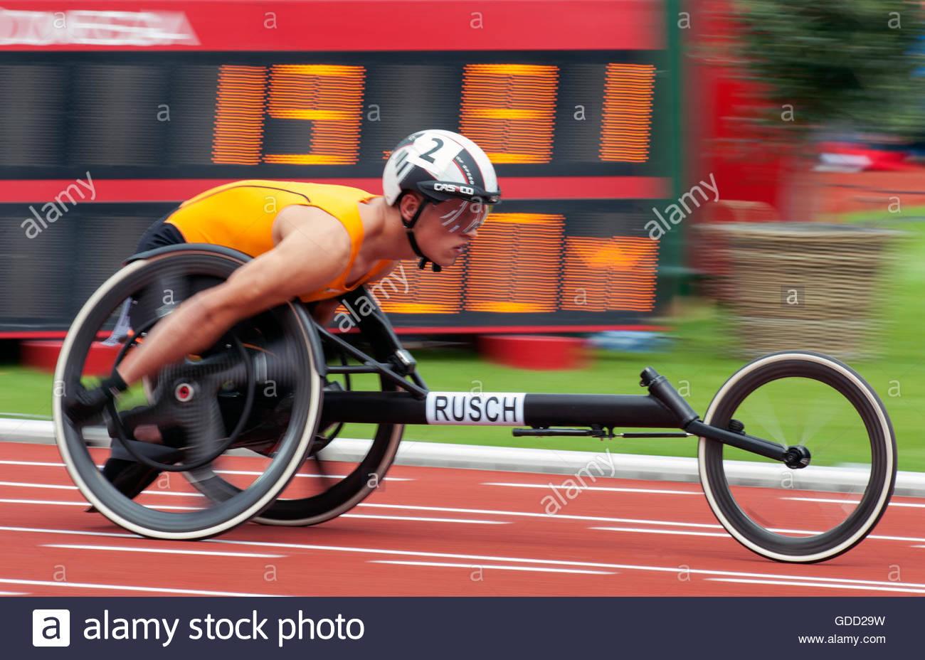 Amsterdam Paesi Bassi 8 luglio 2016 Campionato Europeo di Atletica in Amsterdam. 100m uomini T34 Rusch Stefan (NED) Immagini Stock