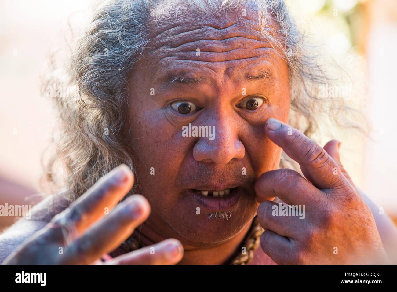 Molokai,locali,Polynesian,nessun modello-release,l'uomo,STATI UNITI D'AMERICA,Hawaii,l'America,ritratto, Immagini Stock